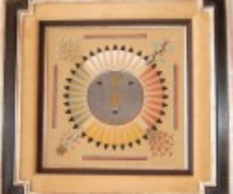 Hopi Sand<br>Painting-Hand-Carved<br>Frame